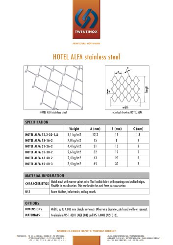 HOTEL ALFA stainless steel