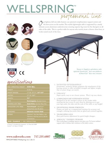 WellSpring Massage Table-Ultimate Package