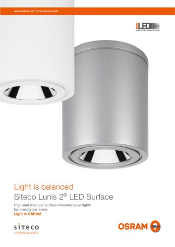 Light is balanced Siteco Lunis 2 LED Surface