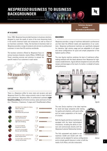 Nespresso business to business backgrounder
