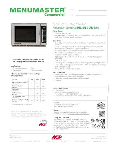 Menumaster® Commercial MFS, RFS & CRFS Series