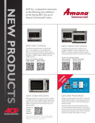 New Products Amana 2020-2021