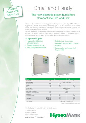 The new electrode steam humidifiers CompactLine C01 and C02