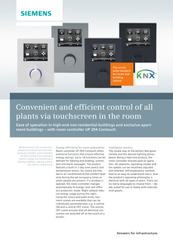Convenient and efficient control of all plants via touchscreen in the room