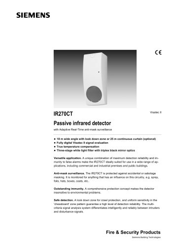 IR270CT - Visatec II™ Pro PIR detector, 18m wide angle with antimask and warm ambient conditions