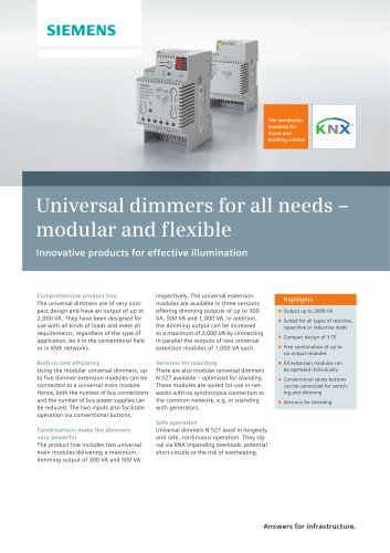 Universal dimmers for all needs - modular and flexible