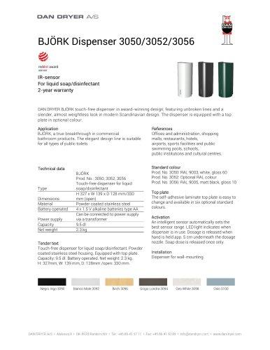 BJÖRK Soap/Disinfectant Dispenser, touchfree, data sheet