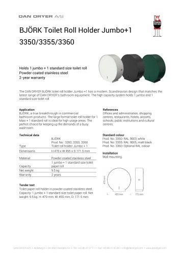 BJÖRK Toilet Roll Holder Jumbo+1, data sheet