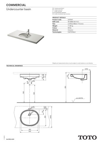 COMMERCIAL Undercounter basin