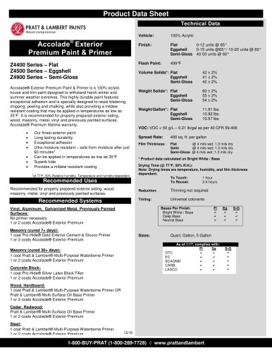 Accolade ®  Exterior Premium Paint & Primer