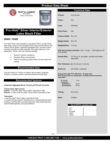 Pro-Hide® Silver Interior/Exterior Latex Block Filler