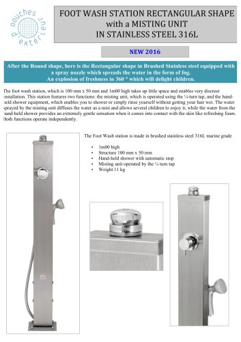 FOOTWASH STATION RECTANGULAR SHAPE with a MISTING UNIT IN STAINLESS STEEL316L