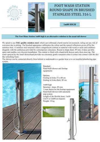 FOOTWASH STATION  ROUND SHAPE IN BRUSHED STAINLESS STEEL 316 L
