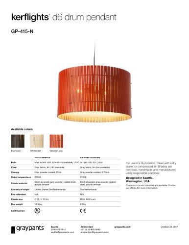 Kerflights® D6 Drum Pendant Natural_Lava