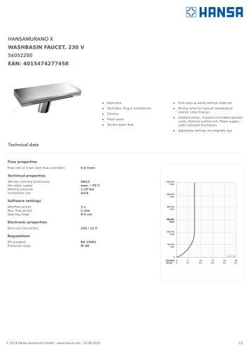 HANSAMURANO X WASHBASIN FAUCET, 230 V
