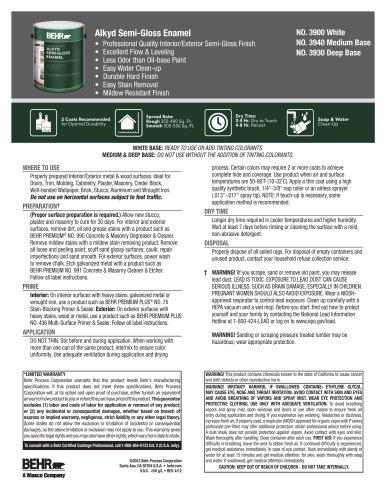 Alkyd Semi Gloss Enamel Behr Pdf Catalogs Documentation Brochures