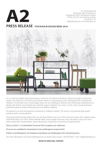 PRESS RELEASE STOCKHOLM DESIGN WEEK 2016