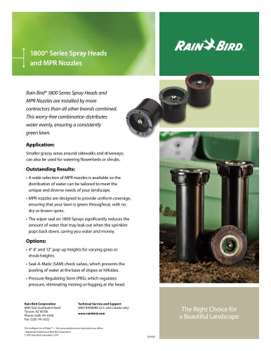1800® Series Spray Heads and MPR Nozzles