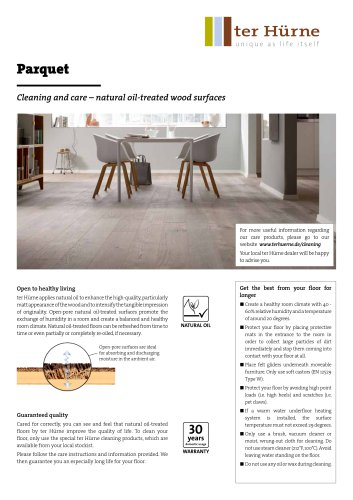 Parquet : Cleaning and care – natural oil-treated wood surfaces