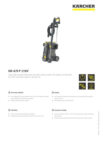 High Pressure Cleaner HD 4/9 P 110V