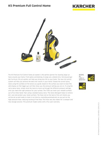 K5 Premium Full Control Home Pressure Washer