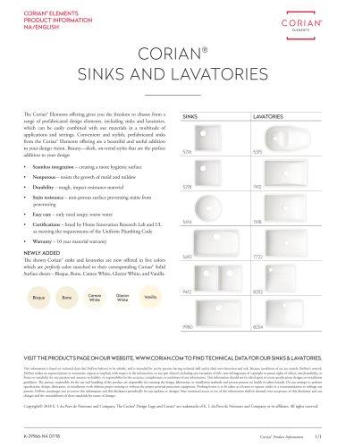 Corian®Sinks and Lavatories - Offering Summary