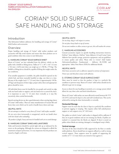 Corian® SOLID SURFACE SAFE HANDLING AND STORAGE
