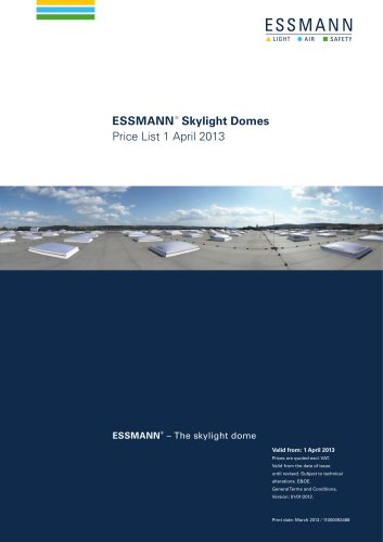 Pricelist Skylight Domes 1 April 2013