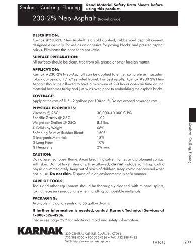 230-2% Neo-Asphalt (trowel grade)