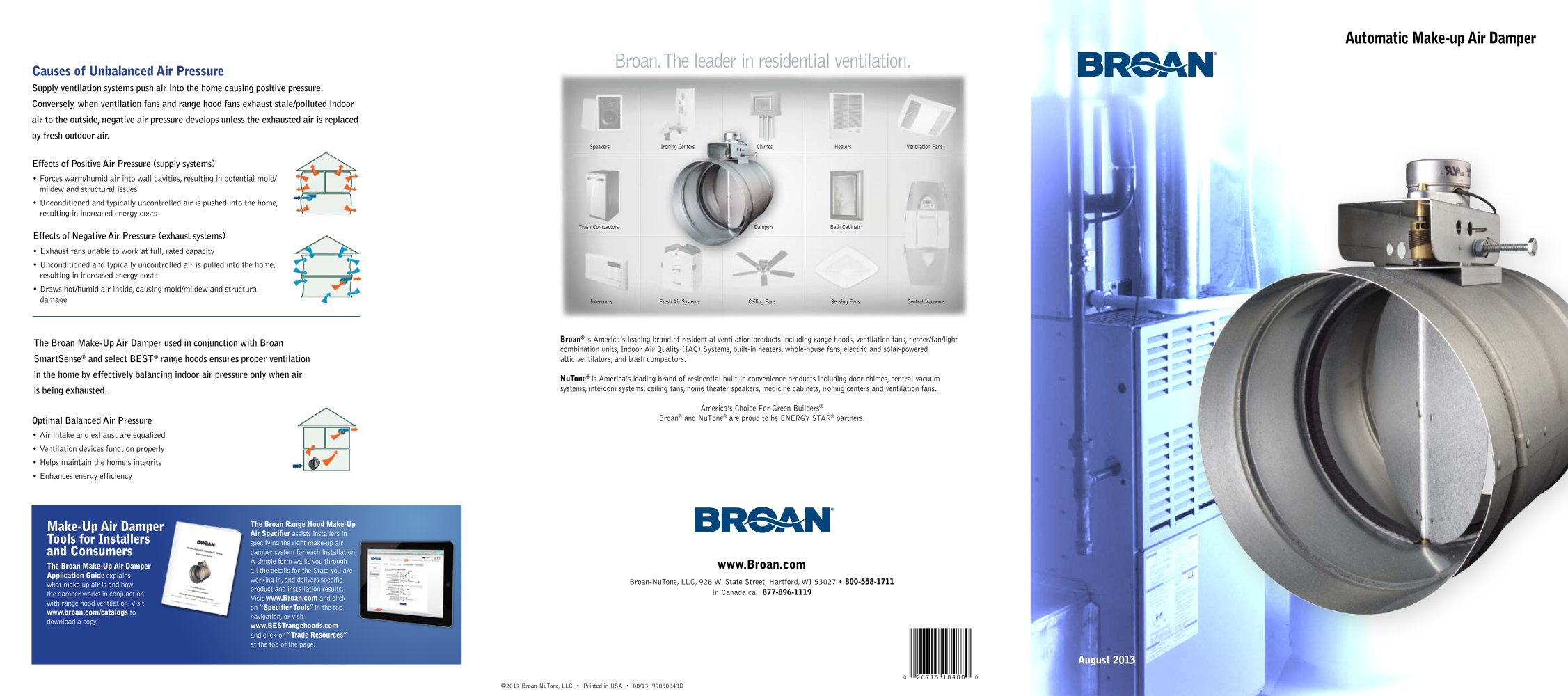 Broan Make Up Air Dampers Catalog 1 2 Pages
