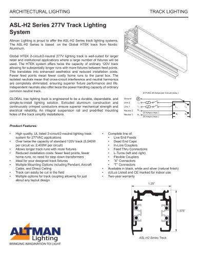 Asl H2 Series 277v Track Lighting System Altman