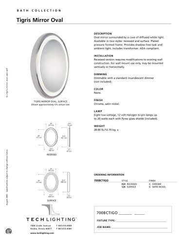 Tigris Mirror Oval Recessed