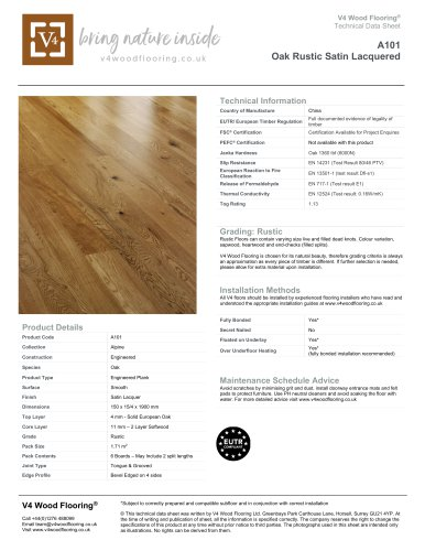 A101 Oak Rustic Satin Lacquered