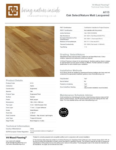 A113 Oak Select/Nature Matt Lacquered
