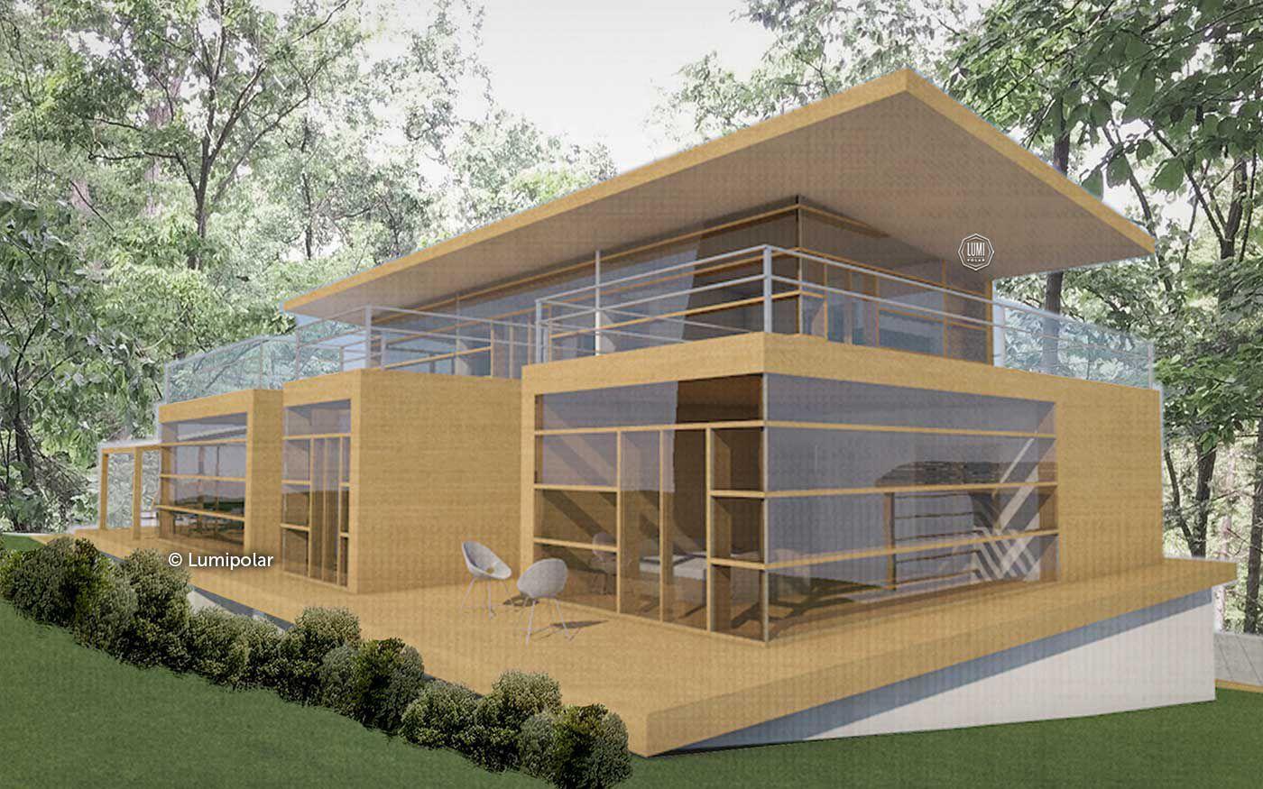 Casa Pré Fabricada Contemporânea Em Madeira Laminada