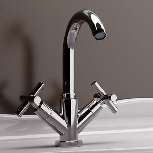 misturador bicomando para lavatório / de pousar / em latão cromado / para banheiro