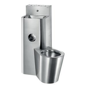 vaso sanitário de piso / em aço inoxidável / para banheiro coletivo / com lavatório integrado