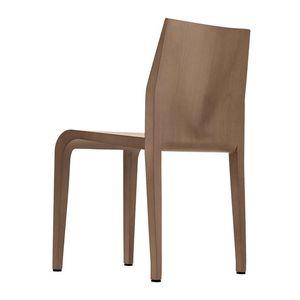 cadeira contemporânea / com braços / empilhável / em couro