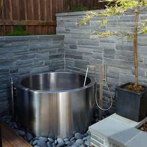 banheira freestanding / redonda / em aço inoxidável