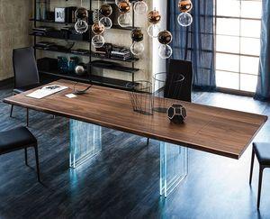 mesa contemporânea / em carvalho / em madeira maciça / em nogueira