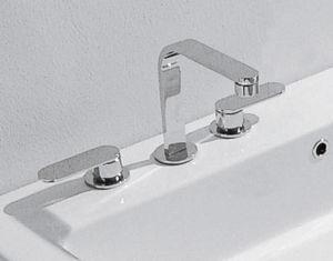 misturador bicomando para lavatório / de pousar / em latão / em metal cromado