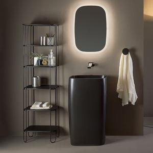 lavatório de coluna / retangular / em cerâmica / contemporânea