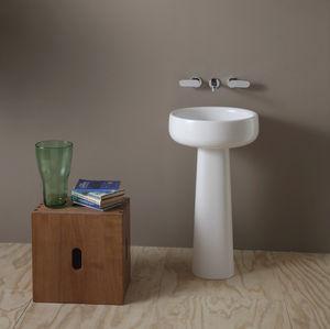 lavatório de coluna / redonda / em cerâmica / contemporânea