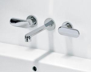 misturador bicomando para lavatório / de parede / em latão / em metal cromado