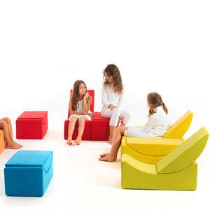 banco estofado modular / de design Pop / em tecido / para jardim de infância