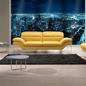 sofá contemporâneo / em tecido / em couro / em aço inoxidável