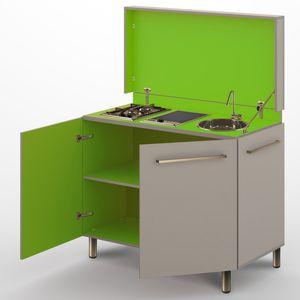 cozinha contemporânea / em laminado / compacta / de jardim