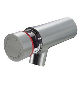 misturador monocomando para lavatório / de parede / em aço inoxidável / temporizado