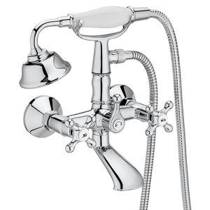 misturador bicomando para box de banheiro / para banheira / de parede / em metal cromado