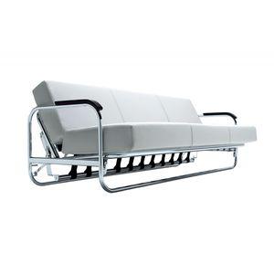 sofá cama / contemporâneo / em couro / em madeira maciça